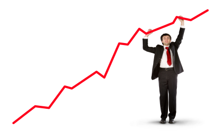 positive result chart with business man isolated
